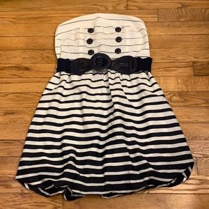 NWT White & Navy Blue Strapless Dress